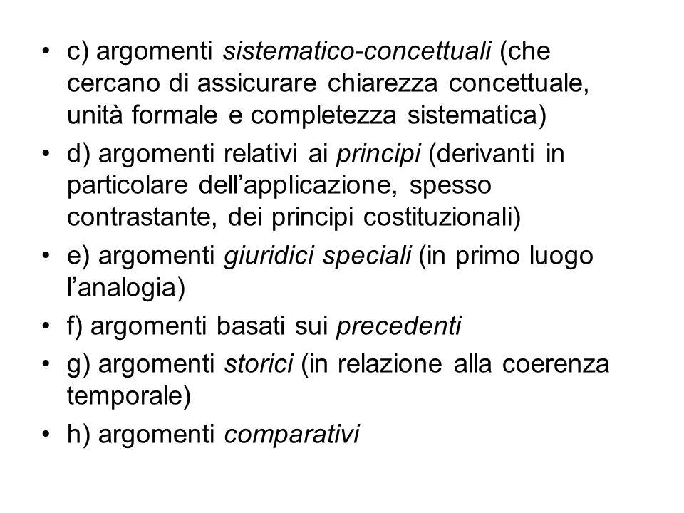 c) argomenti sistematico-concettuali (che cercano di assicurare chiarezza concettuale, unità formale e completezza sistematica)