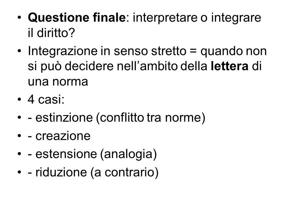Questione finale: interpretare o integrare il diritto