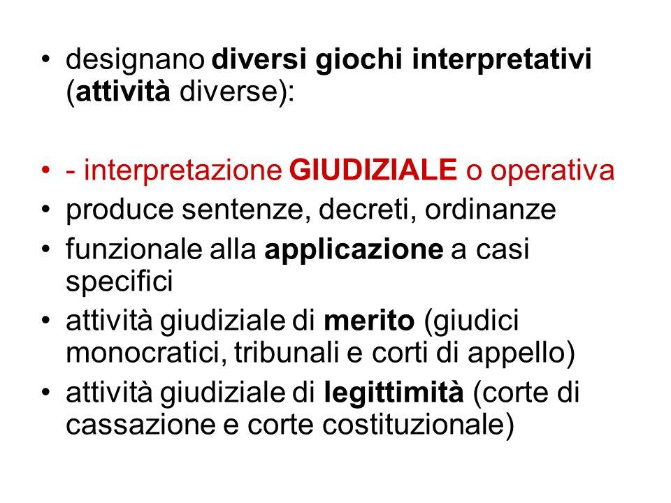 designano diversi giochi interpretativi (attività diverse):