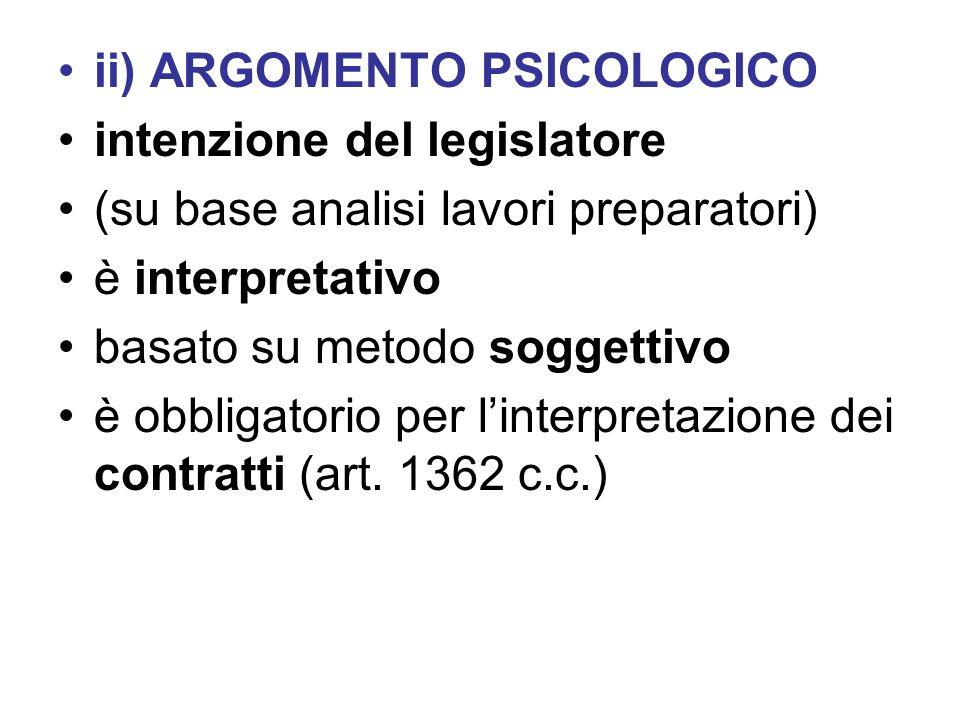 ii) ARGOMENTO PSICOLOGICO