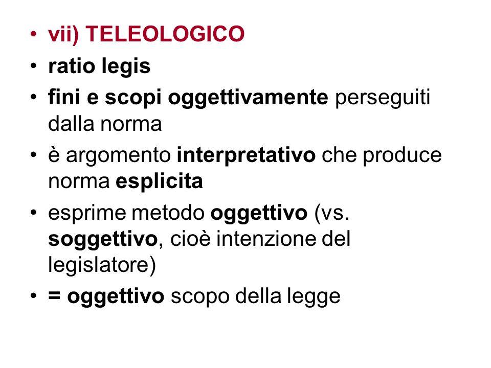 vii) TELEOLOGICO ratio legis. fini e scopi oggettivamente perseguiti dalla norma. è argomento interpretativo che produce norma esplicita.