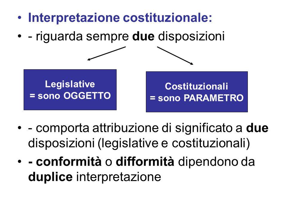 Interpretazione costituzionale: - riguarda sempre due disposizioni