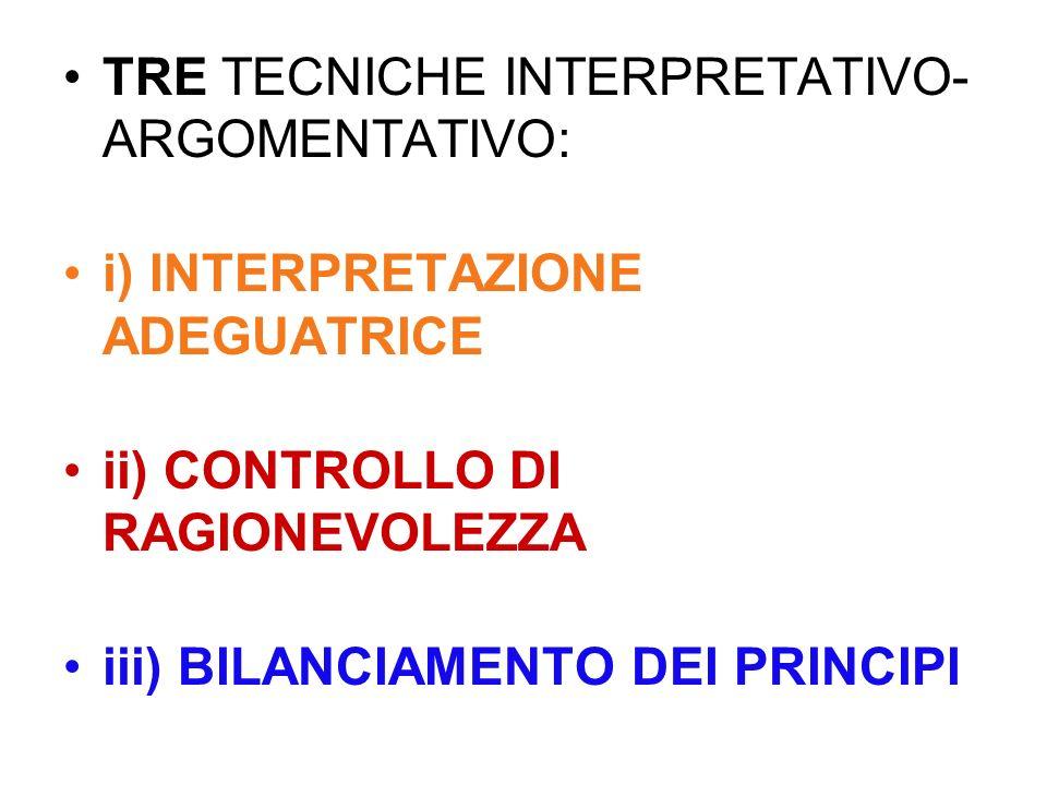 TRE TECNICHE INTERPRETATIVO-ARGOMENTATIVO: