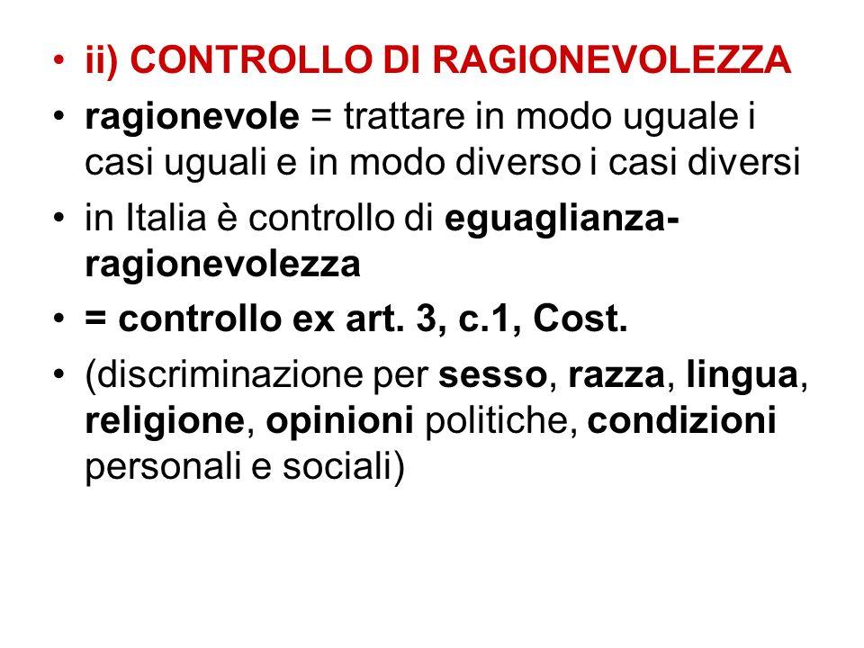 ii) CONTROLLO DI RAGIONEVOLEZZA
