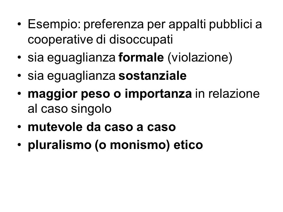 Esempio: preferenza per appalti pubblici a cooperative di disoccupati
