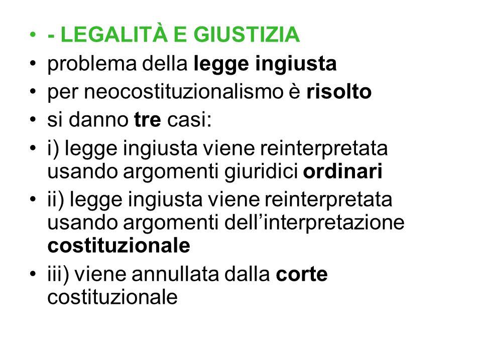 - LEGALITÀ E GIUSTIZIA problema della legge ingiusta. per neocostituzionalismo è risolto. si danno tre casi: