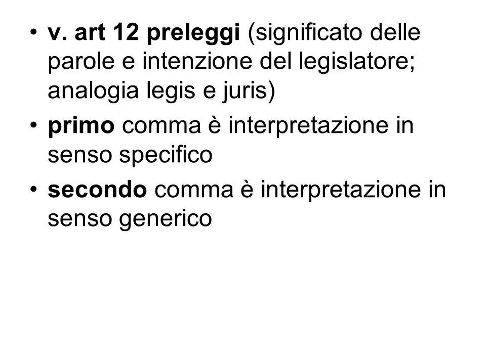 v. art 12 preleggi (significato delle parole e intenzione del legislatore; analogia legis e juris)