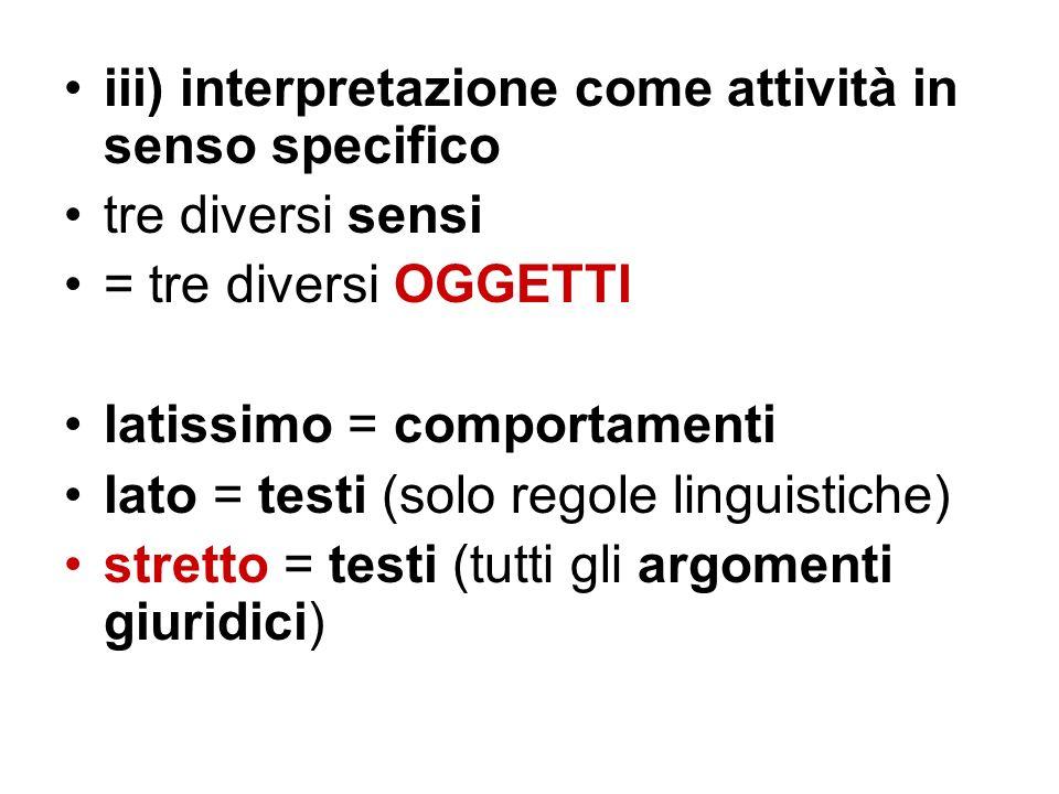 iii) interpretazione come attività in senso specifico