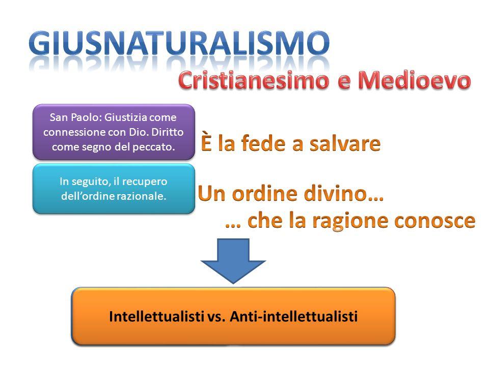 giusnaturalismo Cristianesimo e Medioevo È la fede a salvare