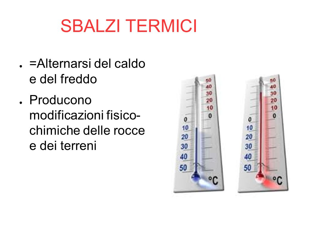 SBALZI TERMICI =Alternarsi del caldo e del freddo