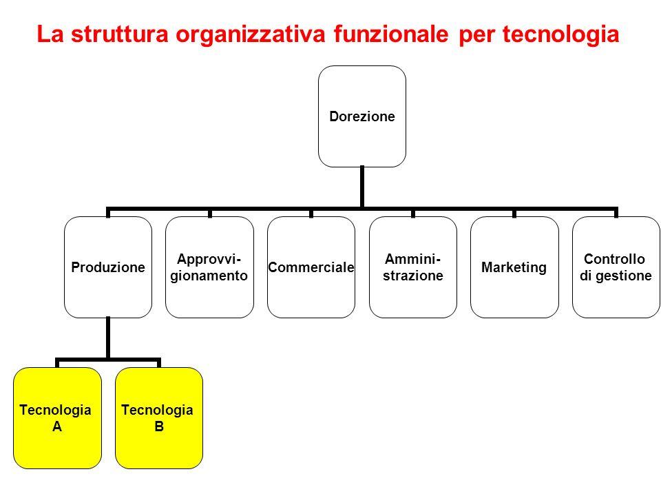 La struttura organizzativa funzionale per tecnologia