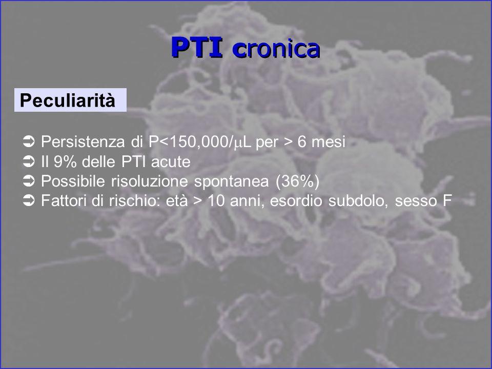 PTI cronica Peculiarità Persistenza di P<150,000/mL per > 6 mesi