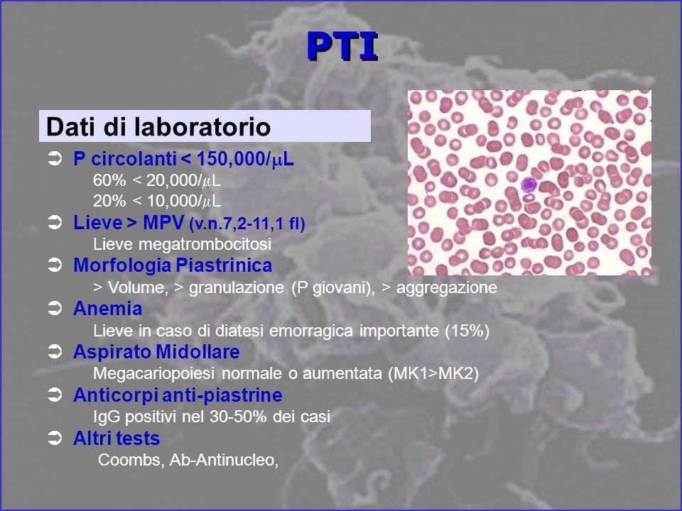 PTI Dati di laboratorio P circolanti < 150,000/mL