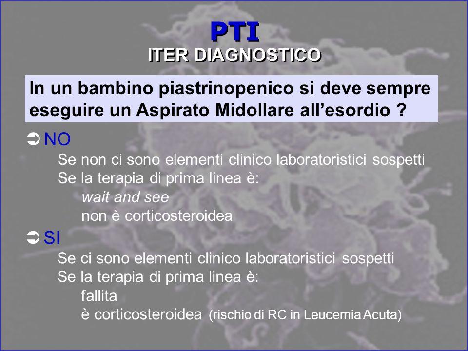 PTI ITER DIAGNOSTICO In un bambino piastrinopenico si deve sempre eseguire un Aspirato Midollare all'esordio
