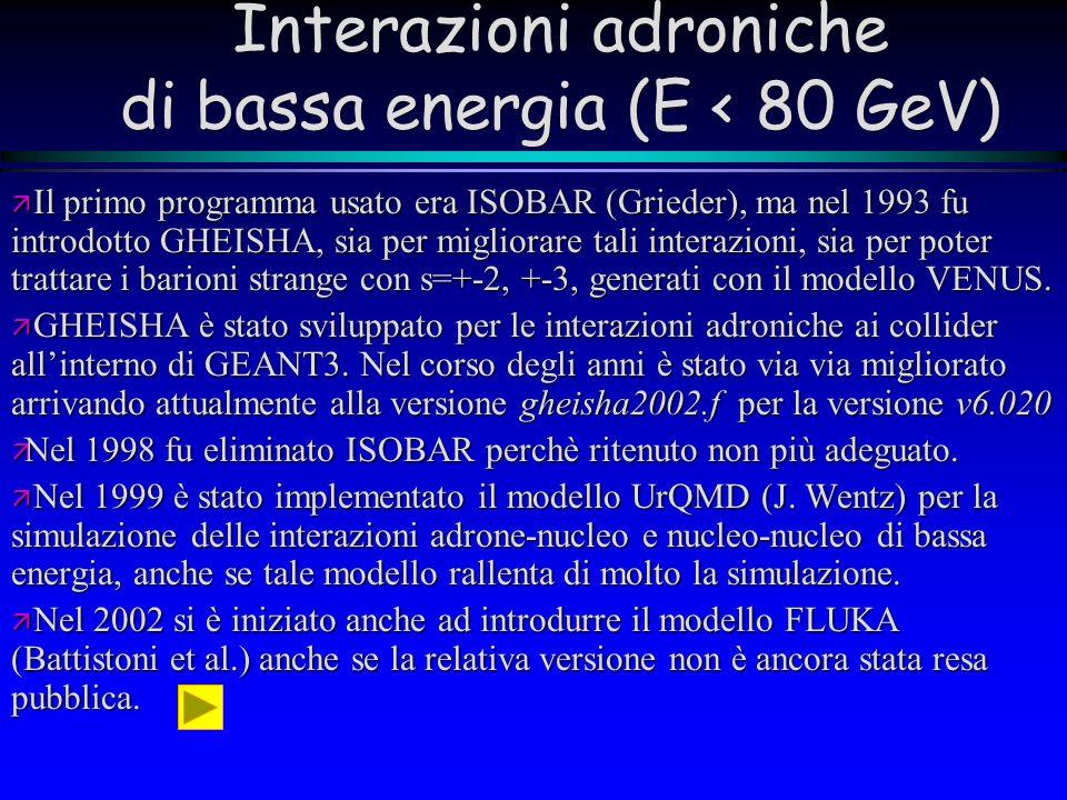 Interazioni adroniche di bassa energia (E < 80 GeV)