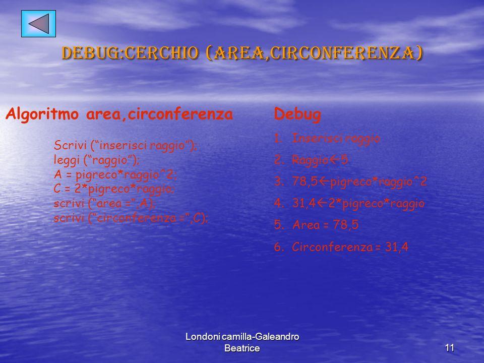 Debug:cerchio (area,circonferenza)