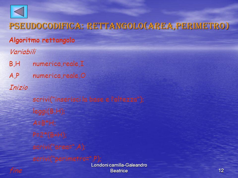 pseudocodifica: rettangolo(area,perimetro)