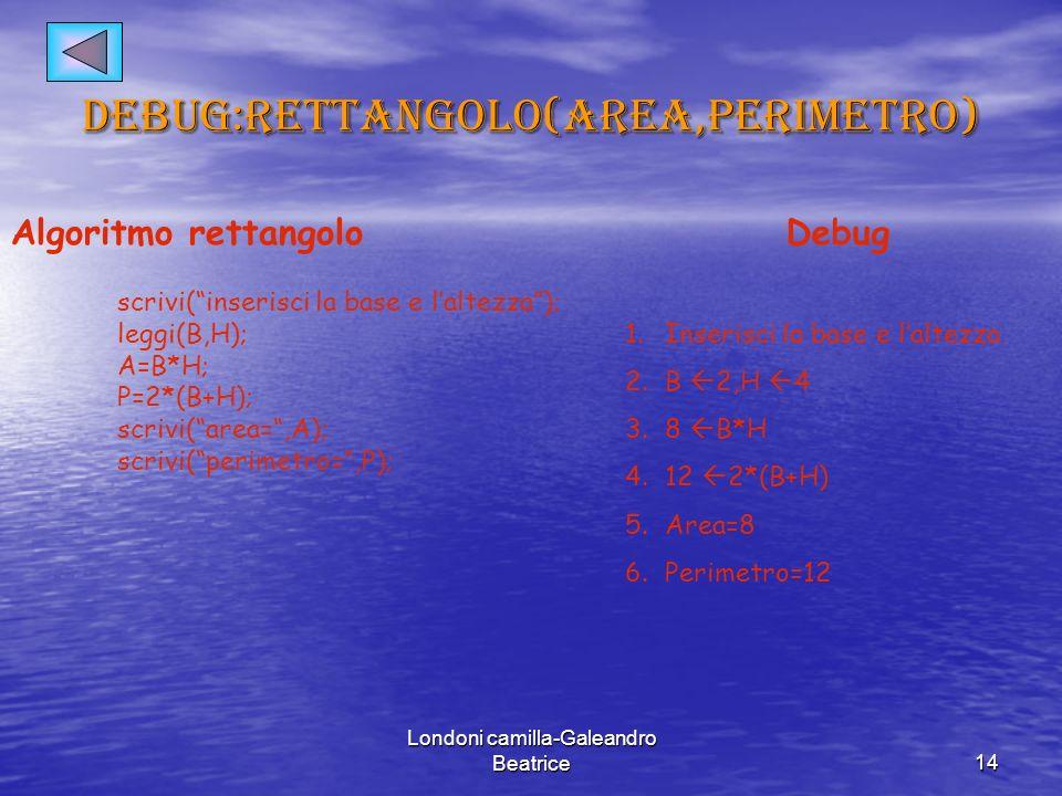 Debug:rettangolo(area,perimetro)