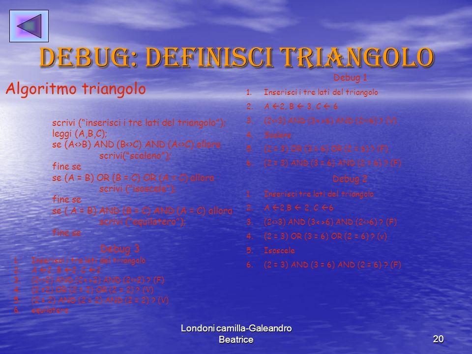 Debug: definisci triangolo
