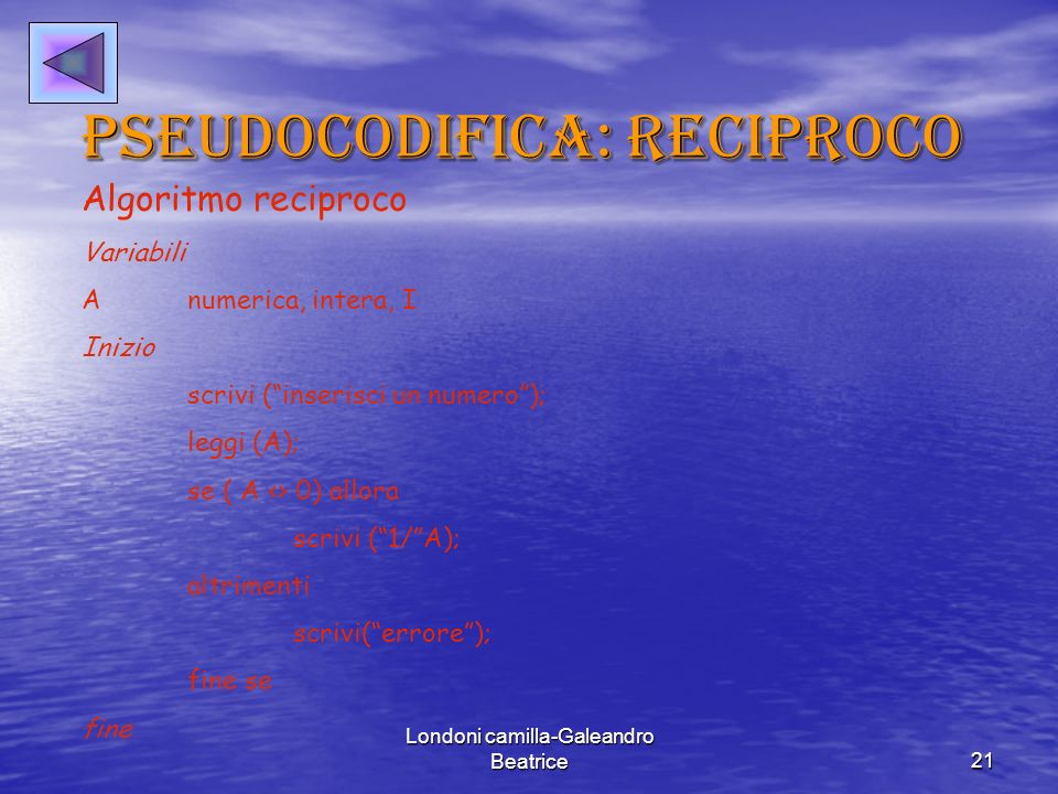 Pseudocodifica: reciproco