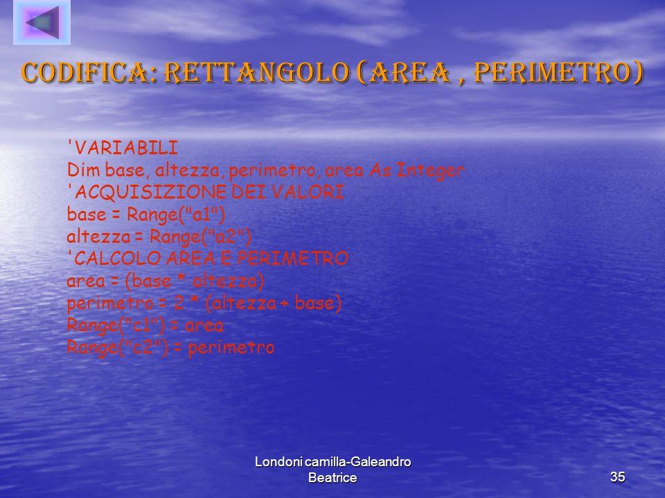 Codifica: rettangolo (area , perimetro)