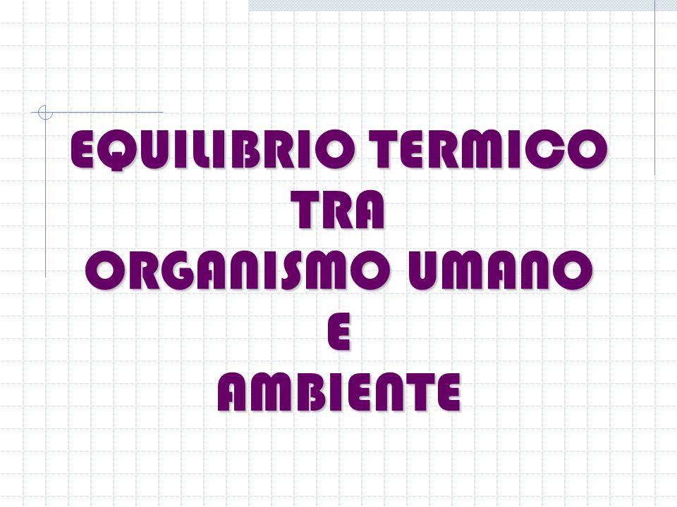 EQUILIBRIO TERMICO TRA ORGANISMO UMANO E AMBIENTE