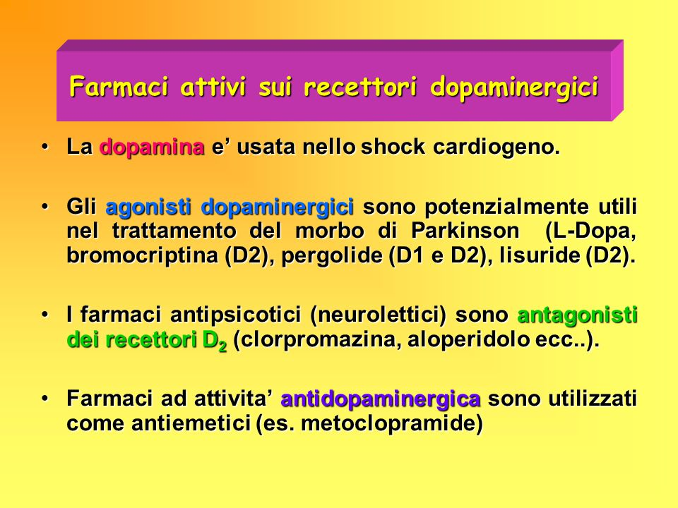 Farmaci attivi sui recettori dopaminergici