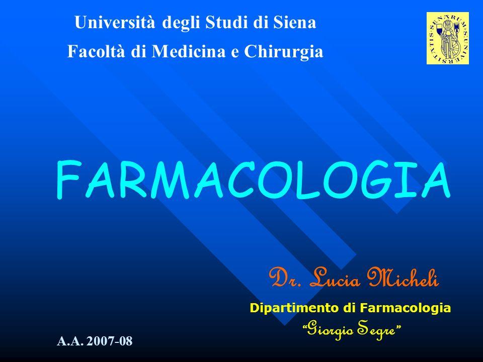 FARMACOLOGIA Dr. Lucia Micheli Università degli Studi di Siena
