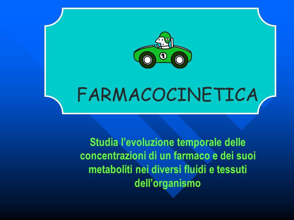 FARMACOCINETICA Studia l'evoluzione temporale delle concentrazioni di un farmaco e dei suoi metaboliti nei diversi fluidi e tessuti dell'organismo.