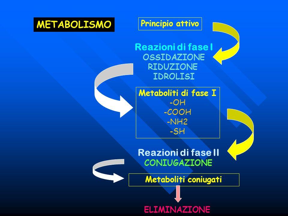 Reazioni di fase I Reazioni di fase II