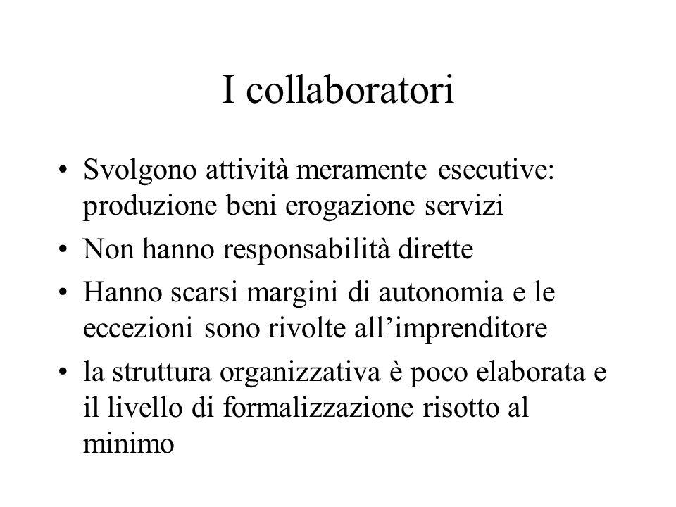 I collaboratori Svolgono attività meramente esecutive: produzione beni erogazione servizi. Non hanno responsabilità dirette.