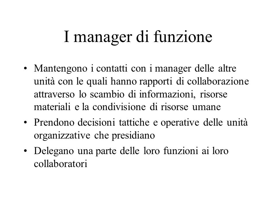 I manager di funzione