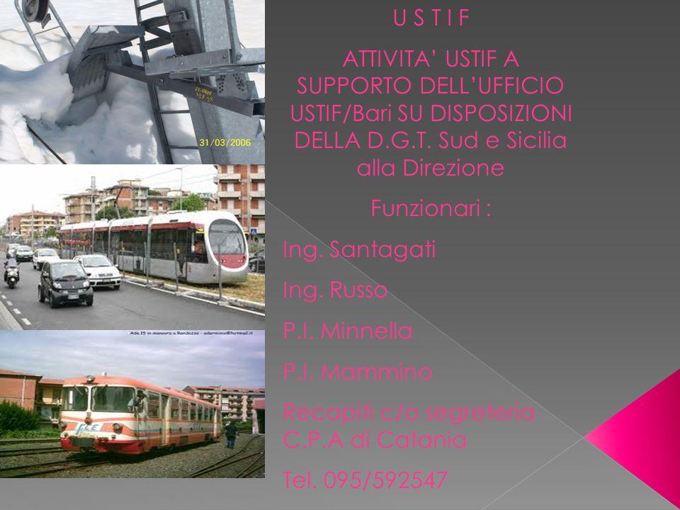 U S T I F ATTIVITA' USTIF A SUPPORTO DELL'UFFICIO USTIF/Bari SU DISPOSIZIONI DELLA D.G.T. Sud e Sicilia alla Direzione.