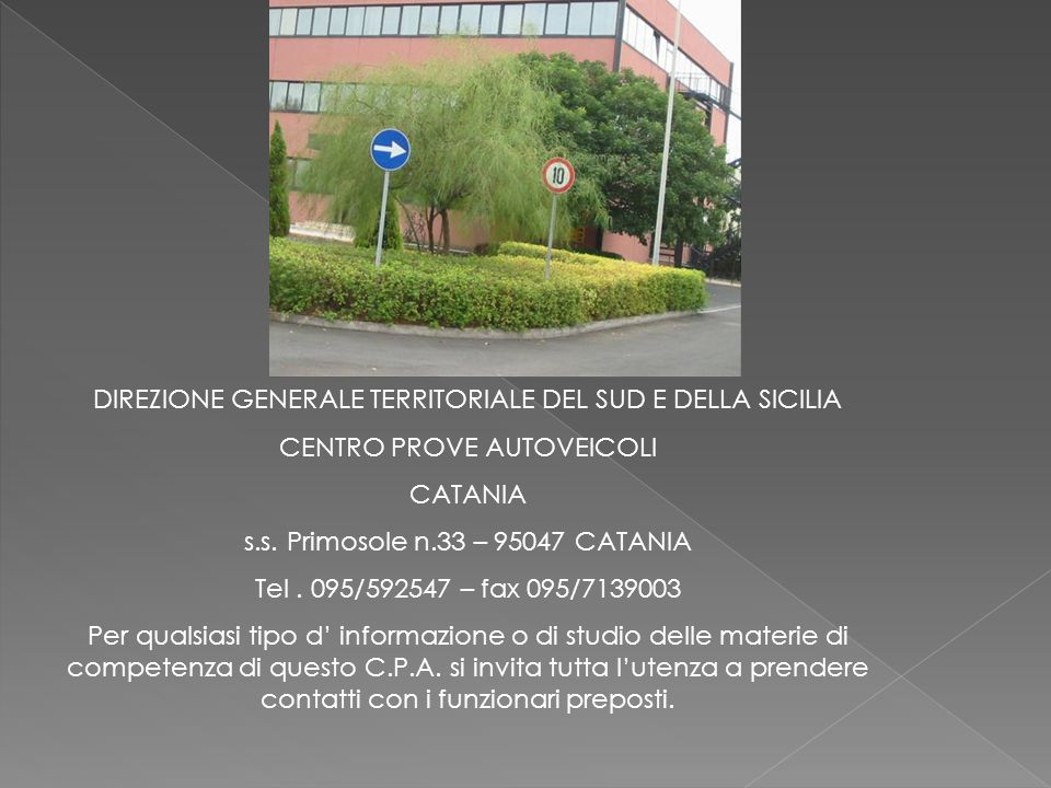 DIREZIONE GENERALE TERRITORIALE DEL SUD E DELLA SICILIA