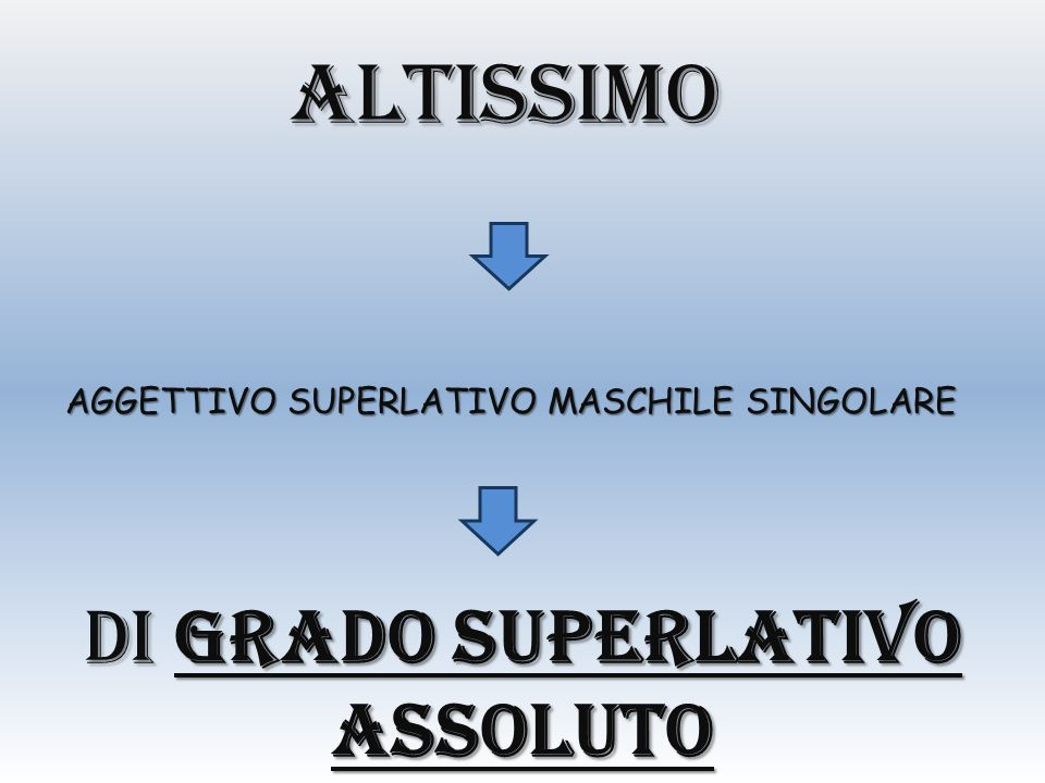 altissimo DI GRADO SUPERLATIVO ASSOLUTO