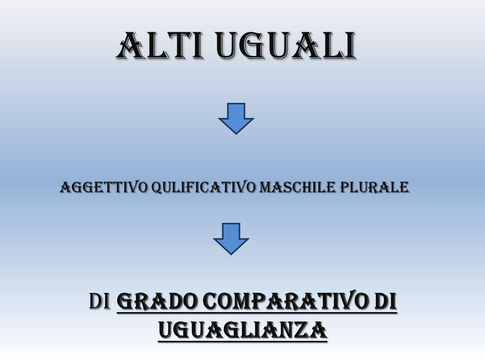 ALTI UGUALI DI GRADO COMPARATIVO DI UGUAGLIANZA