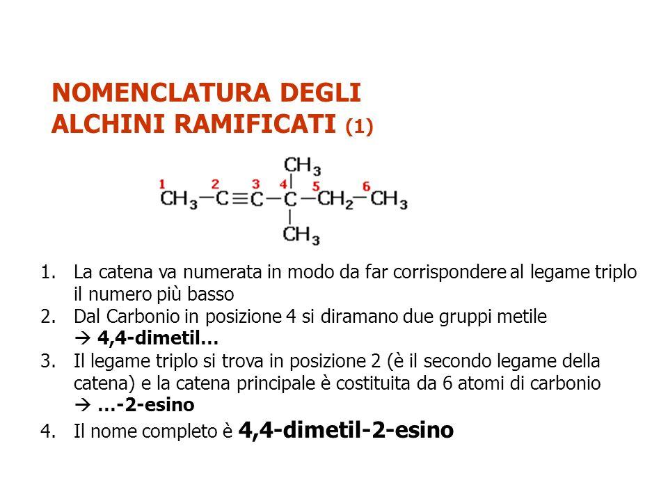 NOMENCLATURA DEGLI ALCHINI RAMIFICATI (1)
