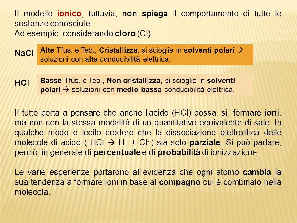 Ad esempio, considerando cloro (Cl) NaCl