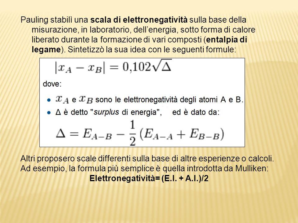 Elettronegatività= (E.I. + A.I.)/2