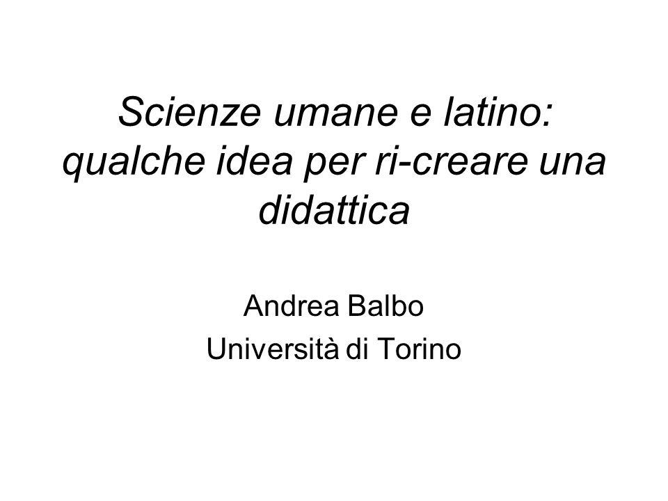 Scienze umane e latino: qualche idea per ri-creare una didattica