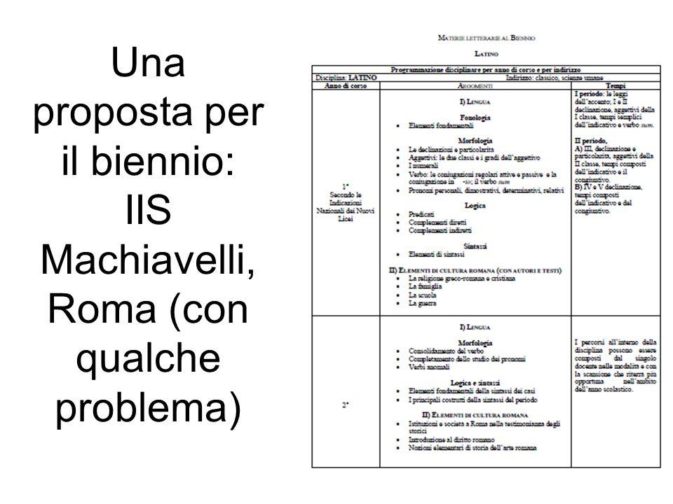 Una proposta per il biennio: IIS Machiavelli, Roma (con qualche problema)