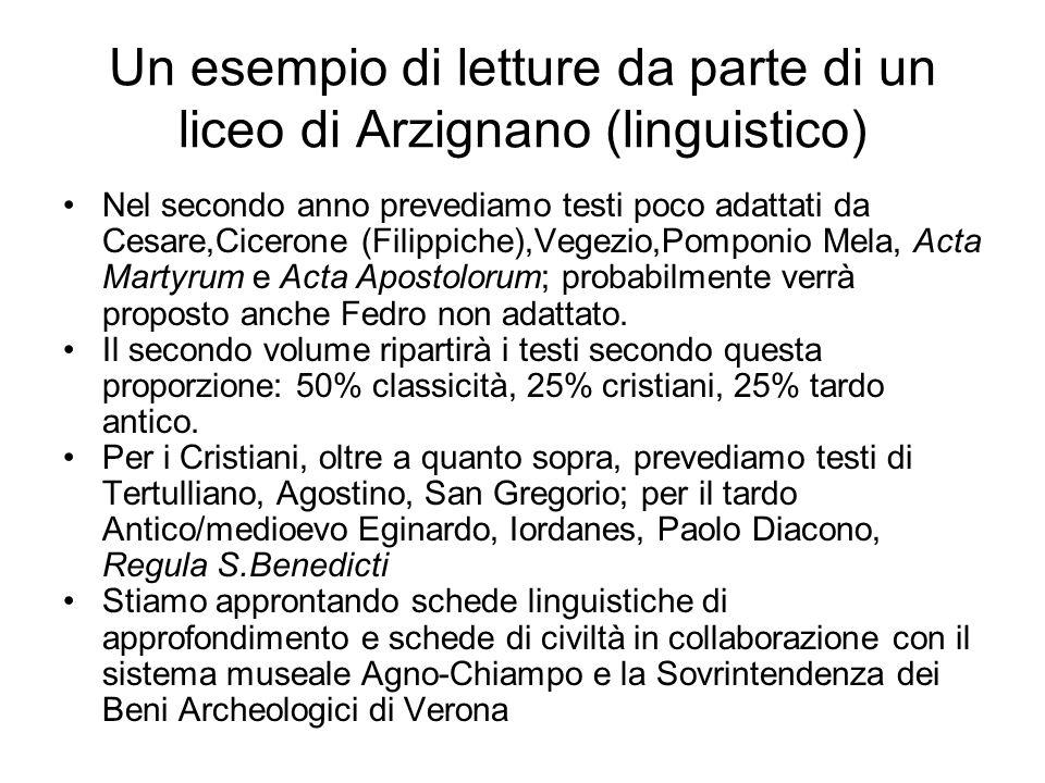 Un esempio di letture da parte di un liceo di Arzignano (linguistico)