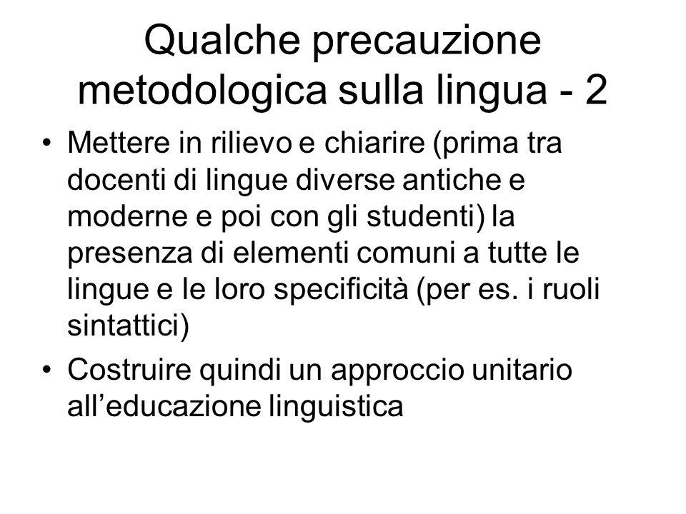 Qualche precauzione metodologica sulla lingua - 2