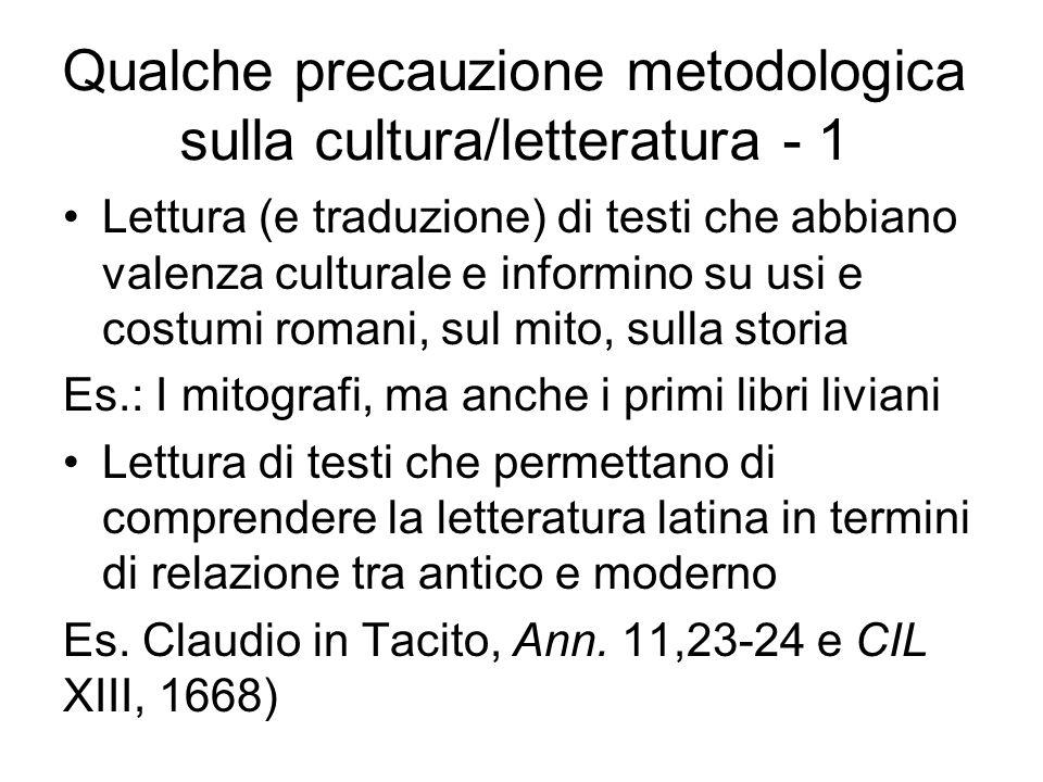 Qualche precauzione metodologica sulla cultura/letteratura - 1