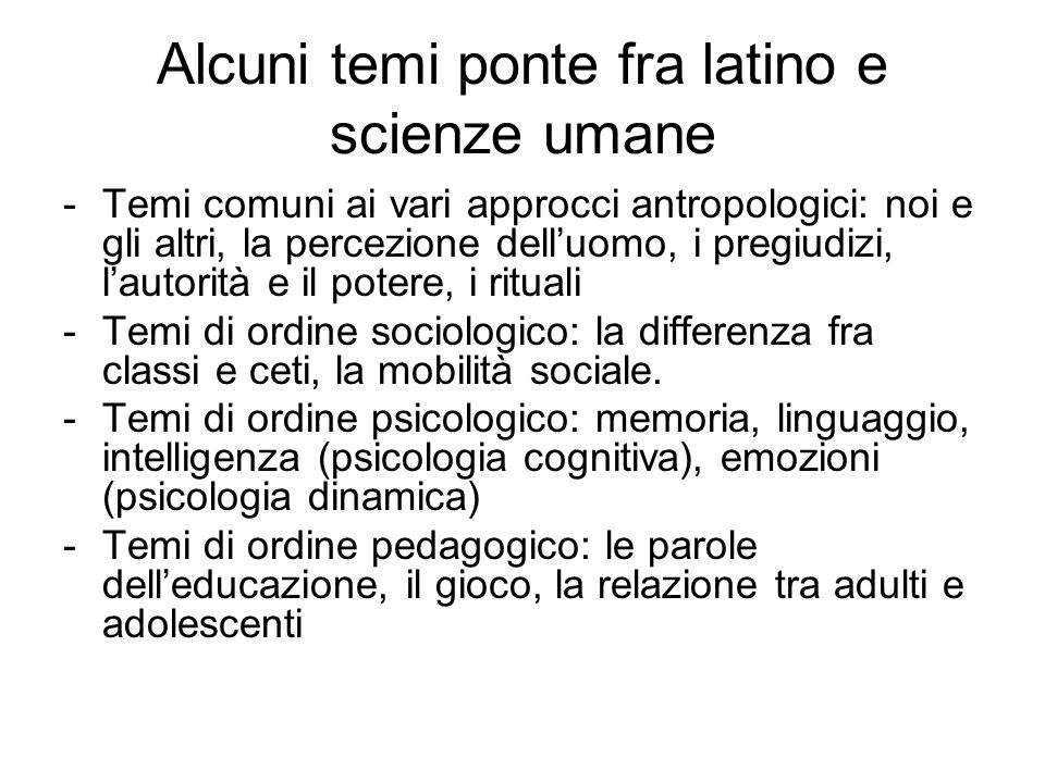 Alcuni temi ponte fra latino e scienze umane