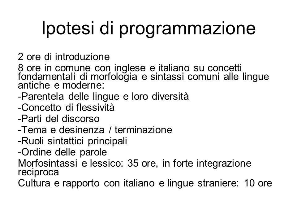 Ipotesi di programmazione