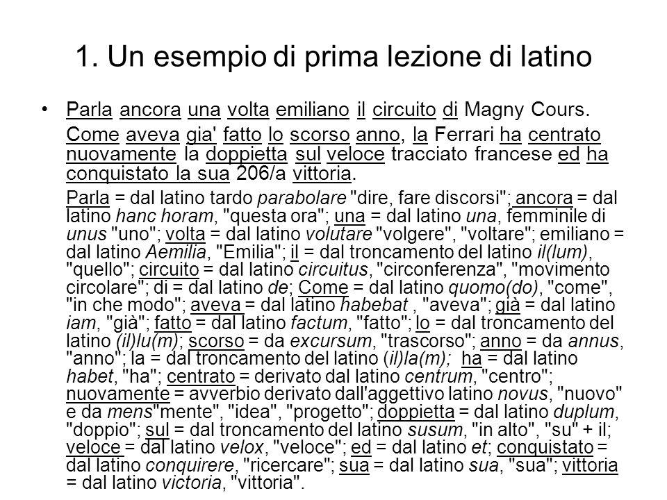1. Un esempio di prima lezione di latino