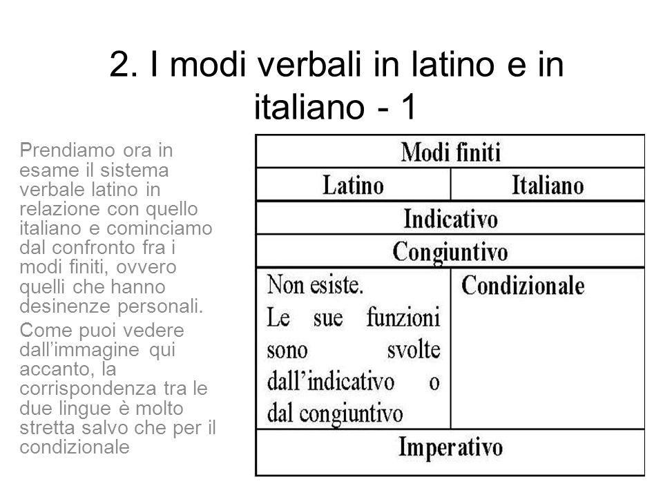 2. I modi verbali in latino e in italiano - 1