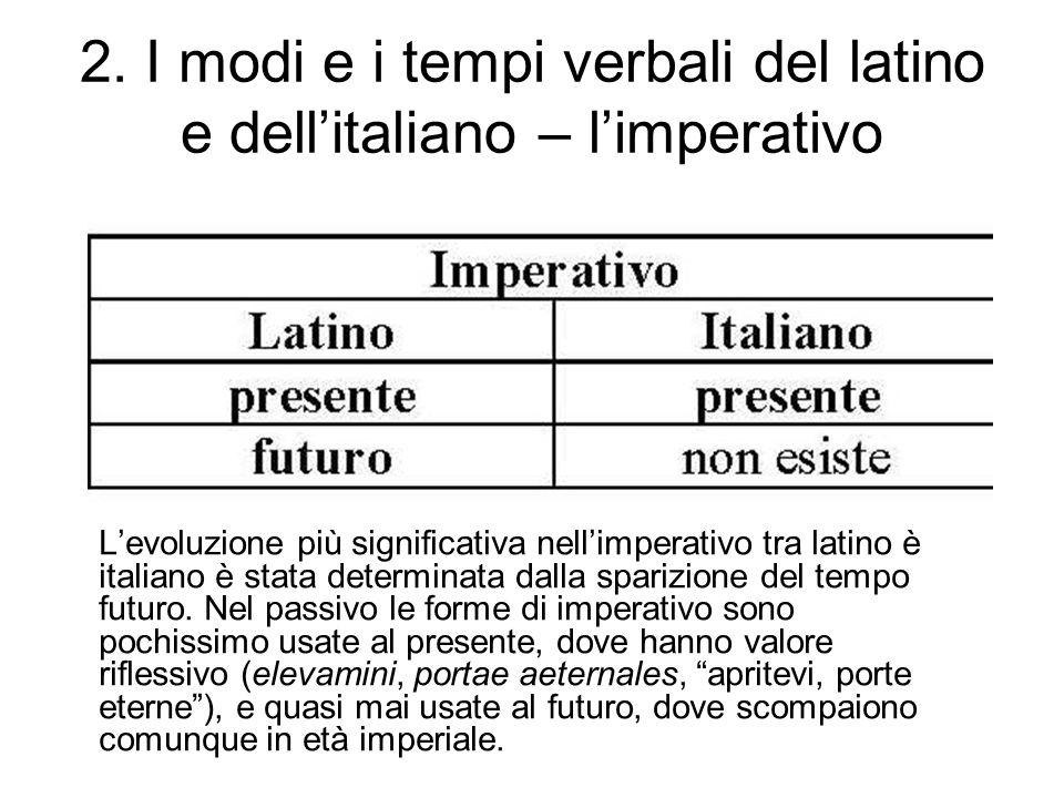 2. I modi e i tempi verbali del latino e dell'italiano – l'imperativo