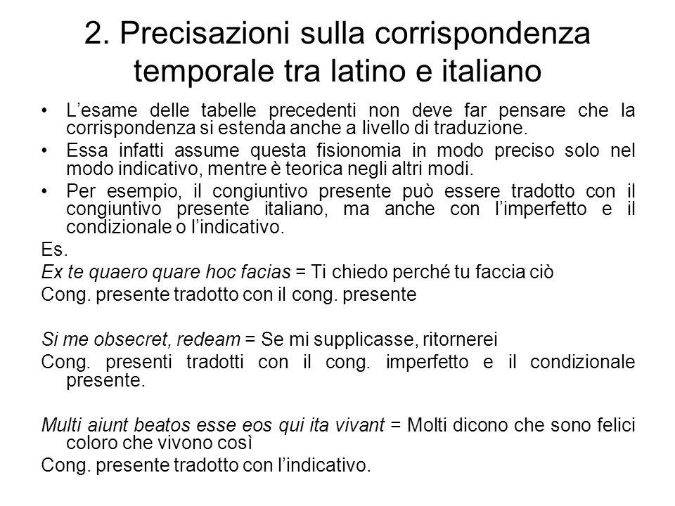 2. Precisazioni sulla corrispondenza temporale tra latino e italiano